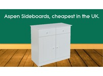 Aspen 2 Door, 2 Drawer SMALL Sideboard. Brand new flat pack furniture, can deliver anywhere in the UK.
