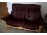 Ekornes Leather 2 Seater Buckingham Reclining Sofa and Matching 2 Armchairs