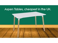 Aspen RECTANGULAR Table, White Top with Beech Legs. Brand new, delivered anywhere in the UK.