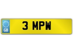 3 MPW - Personalised Number Plate for Sale