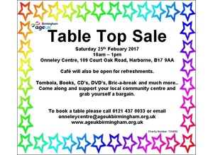Table Top Sale Febuary 2017 to support local charity
