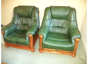 Green leather 3 Piece Suite.  3 seater Sofa and 2 Armchairs