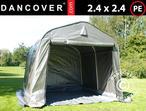 Storage tent PRO 2.4x2.4x2 m PE, with ground cover, Grey