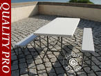 Party package, 1 folding table (182 cm) + 2 folding benches (183 cm), Light grey