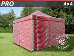 Pop up gazebo FleXtents PRO 4x4 m striped, incl. 4 sidewalls