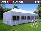 Pop up gazebo FleXtents Xtreme 4x12 m White, incl. sidewalls