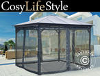 Gazebo Santa Monica w/sidewalls and mosquito net, 3x3m, Dark Grey