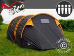 Camping tent, TentZing Tunnel, 4 persons, Orange/Dark Grey