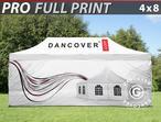 Pop up gazebo FleXtents PRO with full digital print, 4x8 m, incl. 4 sidewalls