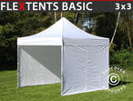 Pop up gazebo FleXtents Basic, 3x3 m White, incl. 4 sidewalls