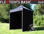 Pop up gazebo FleXtents Basic, 2x2 m Black, incl. 4 sidewalls