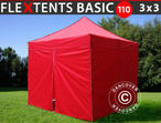 Pop up gazebo FleXtents Basic 110, 3x3 m Red, incl. 4 sidewalls