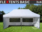 Pop up gazebo FleXtents Basic, 3x6 m White, incl. 6 sidewalls