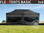 Pop up gazebo FleXtents Basic, 3x6 m Black, incl. 6 sidewalls