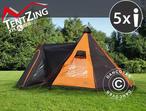Camping tent, TentZing® Teepee, 5 persons, Orange/Dark Grey