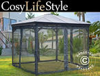 Gazebo Santa Monica w/sidewalls and mosquito net, 3.6x3.6m, Dark Grey