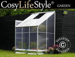 Greenhouse Polycarbonate, Lean-to 2.4m, 1.25x1.92x2.21m, Aluminium