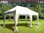 "Pop up gazebo FleXtents PRO ""Wave"" 3x6 m White, incl. 6 decorative curtains"