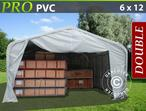 Storage shelter PRO 6x12x3.7 m PVC, Grey