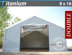 Storage shelter Titanium 8x18x3x5 m, White / Grey