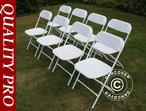 Folding Chair white 44x44x80 cm, 8 pcs