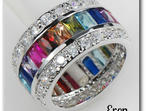 Stunning Sterling Silver Multi-Coloured Simulated Gemstone Ring Was £39.99 Now Only £29.99