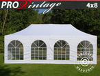 Pop up gazebo FleXtents PRO Vintage Style 4x8 m White, incl. 6 sidewalls