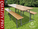 Beer Table Set, 220x60x76cm, Light wood