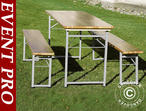 Beer Table Set, 180x60x76cm, Light wood