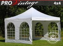 Pop up gazebo FleXtents PRO Vintage Style 4x4 m White, incl. 4 sidewalls