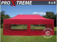 Pop up gazebo FleXtents Xtreme 4x8 m Red, incl. 6 sidewalls