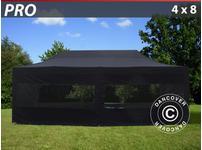 Pop up gazebo FleXtents PRO 4x8 m Black, incl. 6 sidewalls