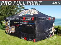 Pop up gazebo FleXtents PRO with full digital print, 4x6 m, incl. 4 sidewalls