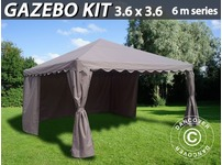 Gazebo Kit 3.6x3.6 m for Marquee, 6 m series, Sand