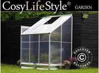 Greenhouse Polycarbonate, Lean-to 2.4m, 1.25x1.92x2.21m, Aluminium