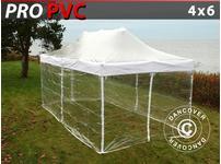 Pop up gazebo FleXtents PRO 4x6 m Clear, incl. 8 sidewalls