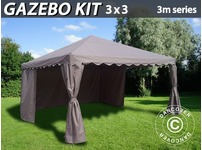 Gazebo Kit 3x3 m for Marquee, 3 m series, Sand