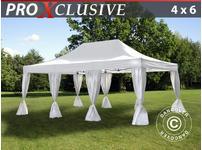 Pop up gazebo FleXtents PRO 4x6 m White, incl. 8 decorative curtains