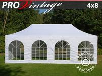Pop up gazebo FleXtents PRO Vintage Style 4x8 m White, incl. 6 sidewalls