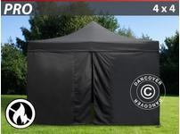 Pop up gazebo FleXtents PRO 4x4 m Black, Flame retardant, incl. 4 sidewalls