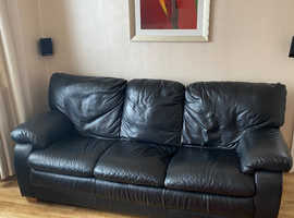 2 seater and 3 seater black Italian leather sofas