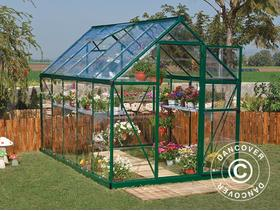 Greenhouse polycarbonate Harmony 5.6m, 1.85x3.06x2.08 m Green 582 - City of London - Greenhouse polycarbonate Harmony 5.6m, 1.85x3.06x2.08 m Green Product specifications: Width:1,85 m. Length:3,06 m. Side height:1,24 m. Ridge height:2,08 m. Material:Polycarbonate Frame:Aluminium Roof plate thickness:0,70mm Sidepanel tykke - City of London
