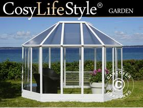 Orangery Polycarbonate 7.95m, 2.41x3.3x2.58m, White  1,197 - City of London - Orangery Polycarbonate 7.95m, 2.41x3.3x2.58m, White Product specifications: Width:2,41 m. Length:3,30 m. Side height:1,72 m. Ridge height:2,58 m. Door:0,95x1,60 m Material:Polycarbonate Frame:Aluminium Roof plate thickness:6mm Sidepanel t - City of London
