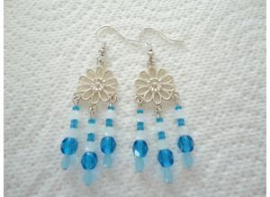 Handmade, Turquoise & White, Glass Bead, Chandelier Earrings. S.P. Hook Ear-Wires.