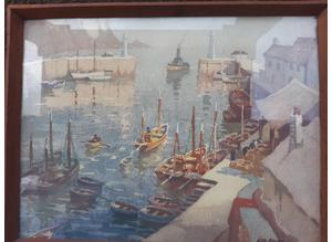"George Ayling ""Harbor Boats"" Vintage Print"
