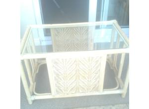 Glass topped cane occasional table