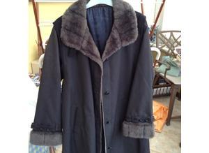 Danimac Royale full length faux fur trimmed mac. .