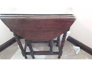 Antique dropleaf table with barley twist legs needs top needs attention