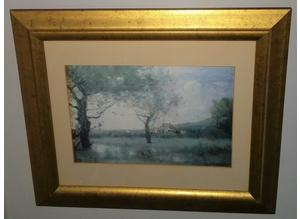 Print of trees in a field by F.B.C. Corot