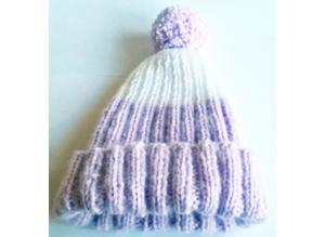 Hand Knitted Baby Hat with Pom-Pom - 3-6 months - New